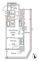 JR山手線 大塚駅 徒歩2分の賃貸マンション 20階1LDKの間取り