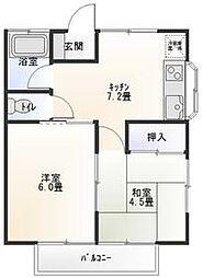 シノハラハイツA棟 2階2DKの間取り