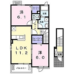 東武日光線 新大平下駅 バス13分 大平図書館前下車 徒歩4分の賃貸アパート 2階2LDKの間取り