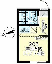 相鉄本線 上星川駅 徒歩15分の賃貸アパート 2階ワンルームの間取り