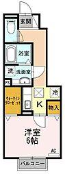 JR東海道本線 草薙駅 徒歩12分の賃貸アパート 1階1Kの間取り