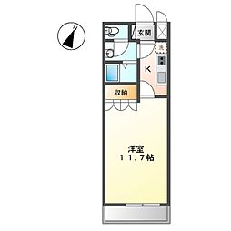 JR両毛線 岩宿駅 徒歩9分の賃貸アパート 1階1Kの間取り
