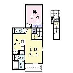 JR上越線 沼田駅 徒歩35分の賃貸アパート 2階1LDKの間取り