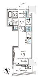 東京メトロ半蔵門線 表参道駅 徒歩12分の賃貸マンション 10階ワンルームの間取り