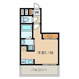福岡市地下鉄空港線 大濠公園駅 徒歩4分の賃貸マンション 8階ワンルームの間取り