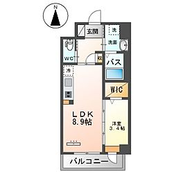 JR鹿児島本線 竹下駅 徒歩16分の賃貸マンション 3階1LDKの間取り