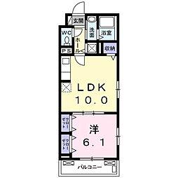 西武新宿線 新狭山駅 徒歩12分の賃貸アパート 2階1LDKの間取り