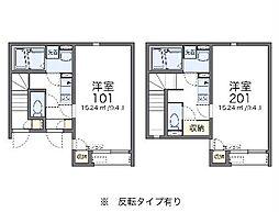 京王高尾線 狭間駅 徒歩13分の賃貸アパート 1階1Kの間取り