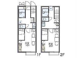 京王高尾線 高尾駅 徒歩6分の賃貸アパート 2階1Kの間取り