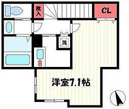 JR青梅線 昭島駅 徒歩12分の賃貸アパート 2階1Kの間取り