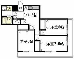 JR京浜東北・根岸線 西川口駅 徒歩14分の賃貸マンション 3階3DKの間取り