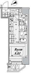 都営三田線 三田駅 徒歩7分の賃貸マンション 2階ワンルームの間取り