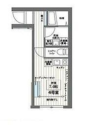 東急多摩川線 矢口渡駅 徒歩4分の賃貸マンション 1階ワンルームの間取り