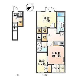 京王高尾線 狭間駅 徒歩15分の賃貸アパート 2階2LDKの間取り