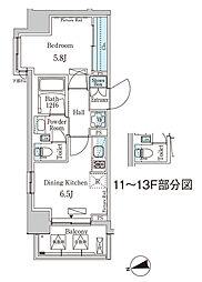 東京メトロ東西線 門前仲町駅 徒歩5分の賃貸マンション 3階1DKの間取り