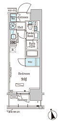 東京メトロ東西線 門前仲町駅 徒歩5分の賃貸マンション 4階ワンルームの間取り