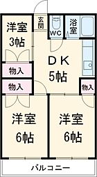 第一静和荘 1階3DKの間取り