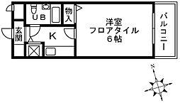 持田レジデンス 4階1Kの間取り