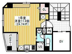 東京メトロ銀座線 田原町駅 徒歩1分の賃貸マンション 6階ワンルームの間取り