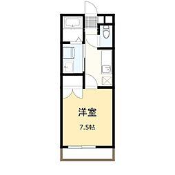 JR両毛線 国定駅 4.9kmの賃貸アパート 2階1Kの間取り