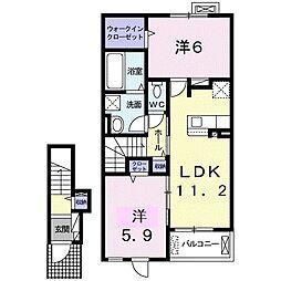 名鉄尾西線 開明駅 徒歩17分の賃貸アパート 2階2LDKの間取り