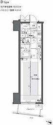 都営大江戸線 都庁前駅 徒歩6分の賃貸マンション 12階1Kの間取り