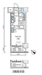 都営新宿線 浜町駅 徒歩3分の賃貸マンション 6階1Kの間取り