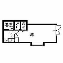 東武宇都宮線 東武宇都宮駅 徒歩10分の賃貸アパート 2階ワンルームの間取り
