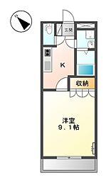 東武伊勢崎線 太田駅 徒歩22分の賃貸アパート 1階1Kの間取り