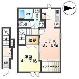 近鉄京都線 上鳥羽口駅 徒歩18分の賃貸アパート 2階1LDKの間取り