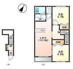 JR横須賀線 衣笠駅 バス17分 縦貫道下下車 徒歩5分の賃貸アパート 2階2LDKの間取り