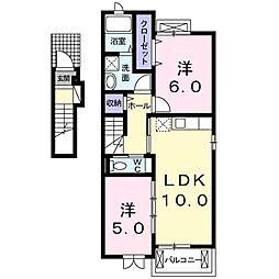 JR高崎線 本庄駅 5.2kmの賃貸アパート 2階2LDKの間取り