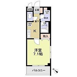 名鉄羽島線 新羽島駅 徒歩9分の賃貸マンション 1階1Kの間取り