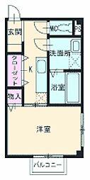 名鉄各務原線 新那加駅 バス14分 (ふ)東海学院大学南下車 徒歩7分の賃貸アパート 2階1Kの間取り