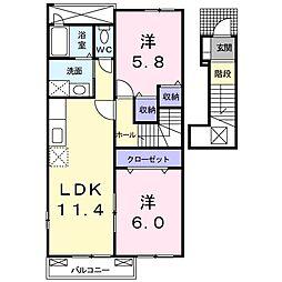 JR予讃線 多度津駅 徒歩22分の賃貸アパート 2階2LDKの間取り
