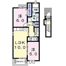グランデュール椿 2階2LDKの間取り