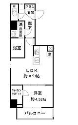 東京メトロ日比谷線 仲御徒町駅 徒歩4分の賃貸マンション 9階1LDKの間取り