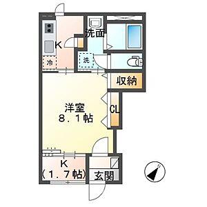 間取り,1K,面積33.86m2,賃料4.5万円,,,茨城県神栖市日川