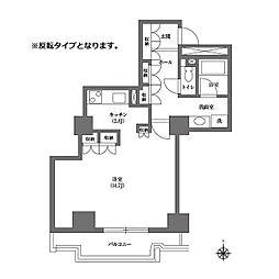 都営三田線 千石駅 徒歩4分の賃貸マンション 17階ワンルームの間取り
