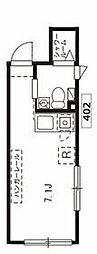 東急大井町線 北千束駅 徒歩3分の賃貸マンション 4階ワンルームの間取り