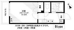セブンヒルズ東高円寺 2階1Kの間取り