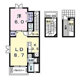 JR常磐線 北柏駅 徒歩9分の賃貸アパート 3階1LDKの間取り