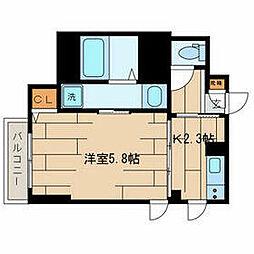 京王井の頭線 下北沢駅 徒歩10分の賃貸マンション 4階1Kの間取り