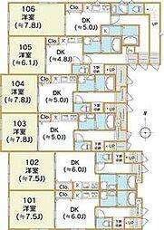西武新宿線 上石神井駅 徒歩19分の賃貸アパート 1階1DKの間取り