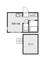 JR京浜東北・根岸線 山手駅 徒歩6分の賃貸アパート 2階ワンルームの間取り
