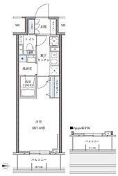 名古屋市営東山線 新栄町駅 徒歩8分の賃貸マンション 8階1Kの間取り