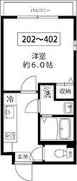 東京メトロ南北線 王子駅 徒歩10分の賃貸マンション 3階1Kの間取り