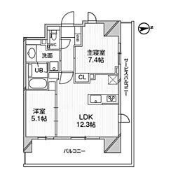 都営浅草線 高輪台駅 徒歩5分の賃貸マンション 3階2LDKの間取り