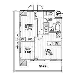 都営浅草線 高輪台駅 徒歩5分の賃貸マンション 6階2LDKの間取り