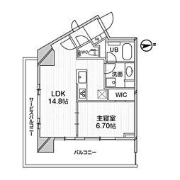 都営浅草線 高輪台駅 徒歩5分の賃貸マンション 11階2LDKの間取り